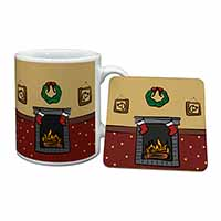 Christmas Fire Place Mug+Coaster Birthday Gift Idea