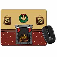 Christmas Fire Place Computer Mouse Mat Birthday Gift Idea