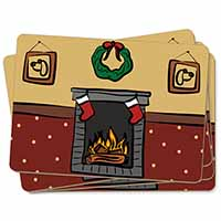 Christmas Fire Place Picture Placemats in Gift Box