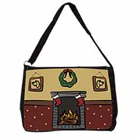 Christmas Fire Place Large Black Laptop Shoulder Bag School/College