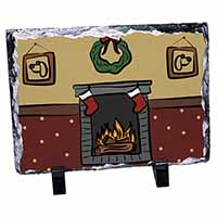 Christmas Fire Place Photo Slate Photo Ornament Gift