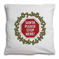 Christmas Stop Sign Soft Velvet Feel Scatter Cushion