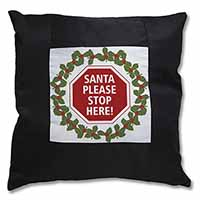 Christmas Stop Sign Black Border Satin Feel Scatter Cushion
