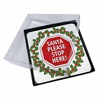 4x Christmas Stop Sign Picture Table Coasters Set in Gift Box