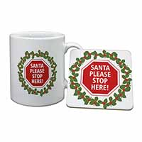 Christmas Stop Sign Mug+Coaster Birthday Gift Idea
