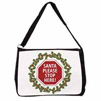Christmas Stop Sign Large Black Laptop Shoulder Bag School/College