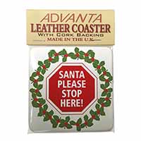 Christmas Stop Sign Single Leather Photo Coaster Perfect Gift
