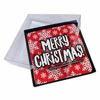 4x Merry Christmas Picture Table Coasters Set in Gift Box