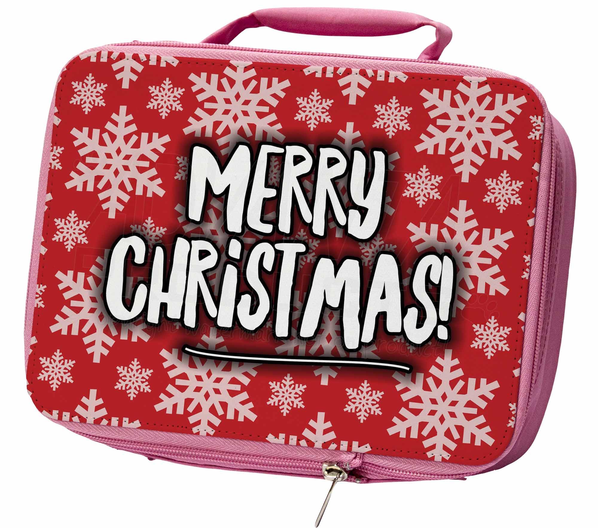 Buon Natale Rosa Isolata Scuola Pranzo Box Sacchetto, Natale - 9lbp-mostra Il Titolo Originale