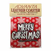 Merry Christmas Single Leather Photo Coaster Perfect Gift