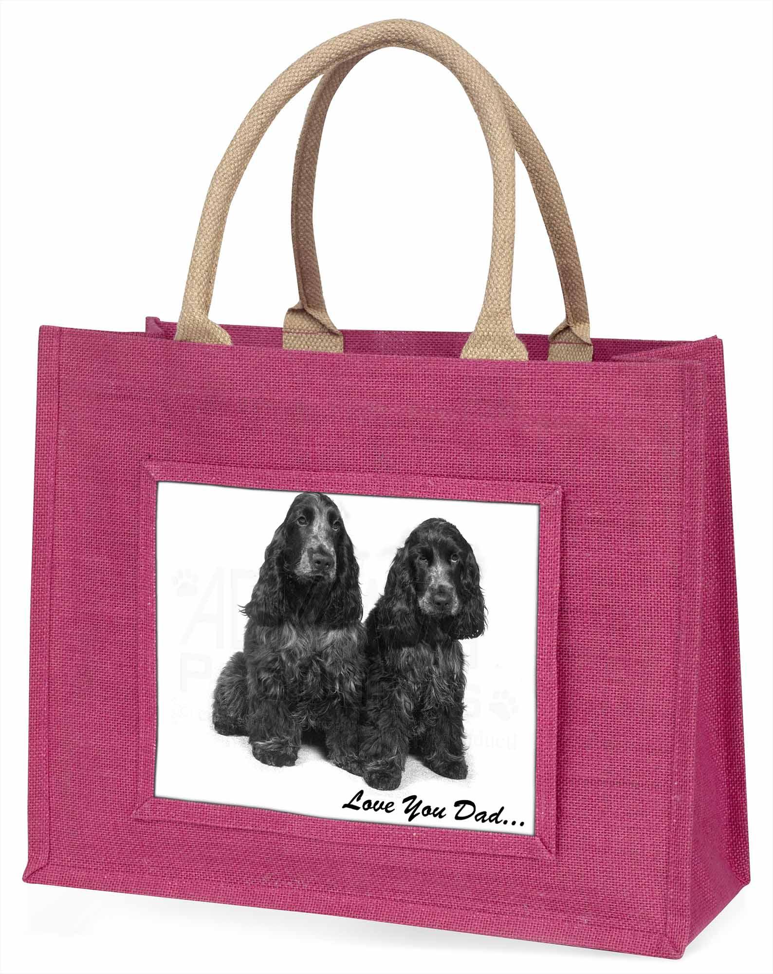 Cocker Spaniels' liebe Dich Papa' große rosa Einkaufstasche WEIHNACHTEN vor,