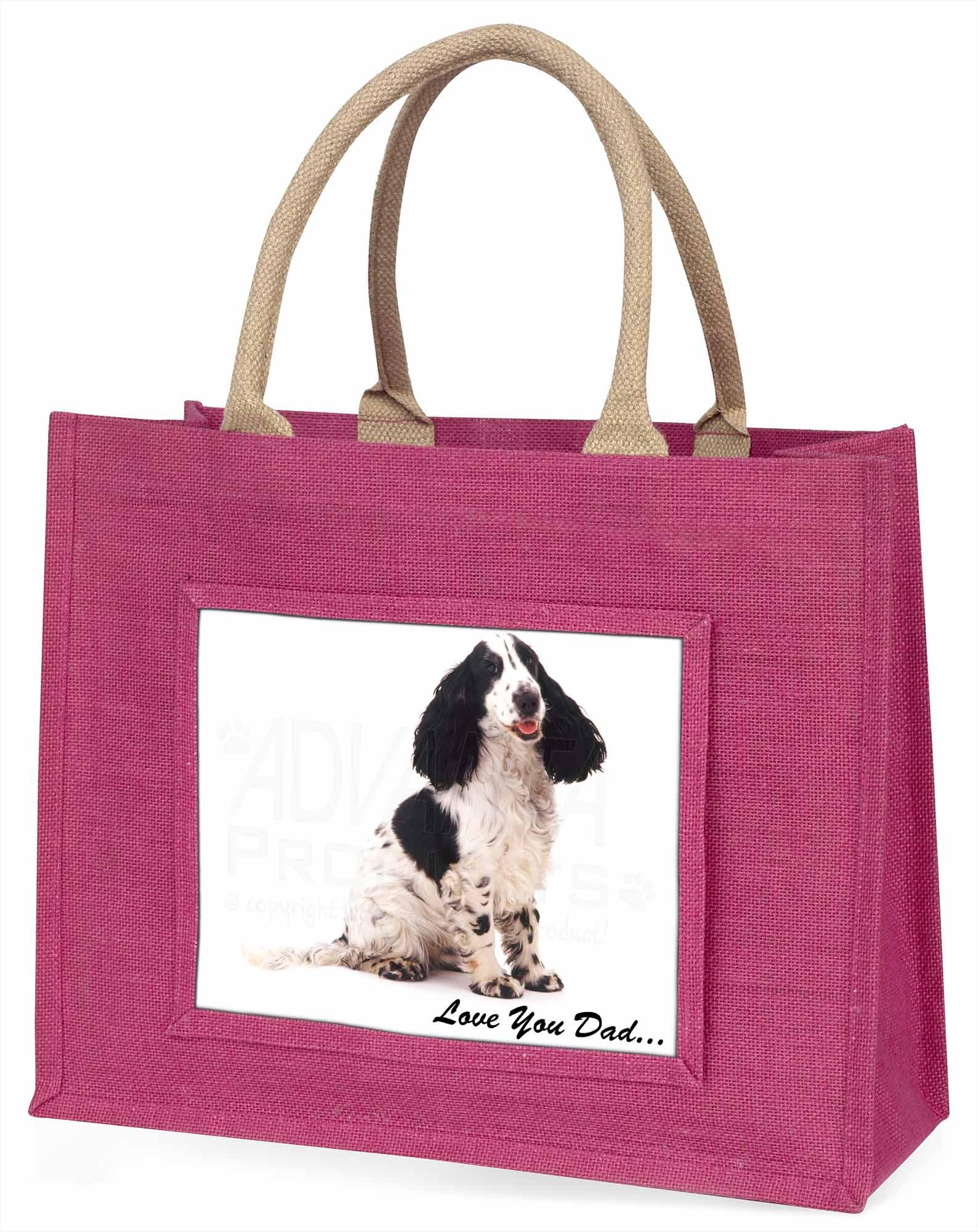Cocker Spaniel' liebe Dich Papa' große rosa Einkaufstasche Weihnachten Geschenk,