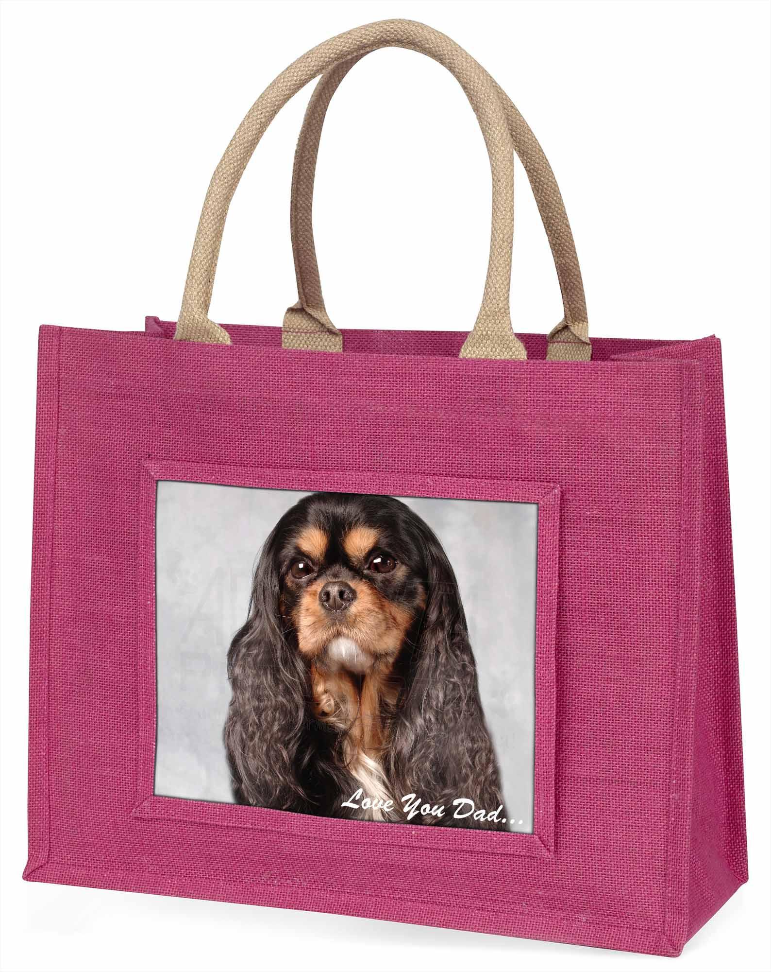 König Charles Hund' liebe Dich Papa' große rosa Einkaufstasche WEIHNACHTEN PR,