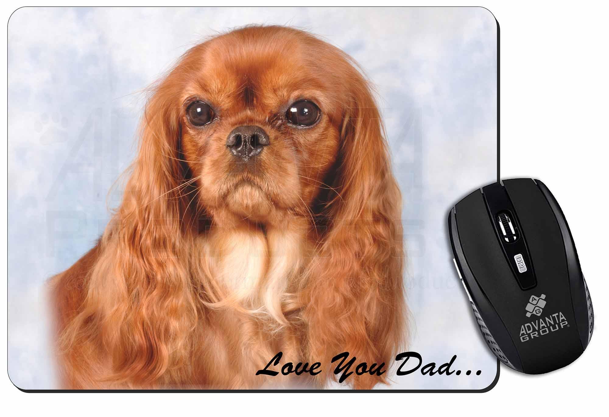 Ruby King Charles /'Love You Dad/' Black Rim Glass Placemat Animal Tabl DAD-112GP