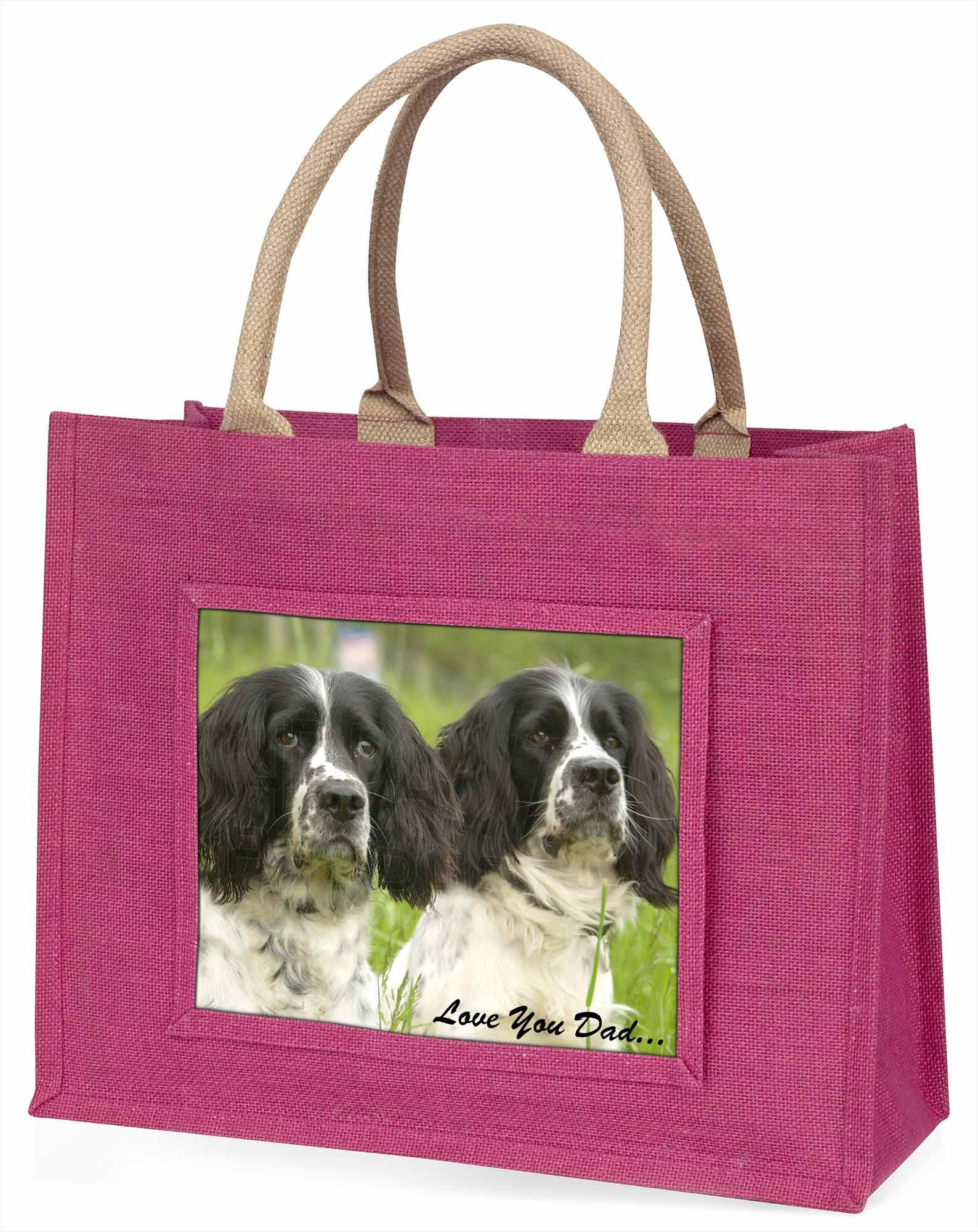 Springer Spaniel Hunde' liebe Dich Papa' große rosa Einkaufstasche Weihnachten,