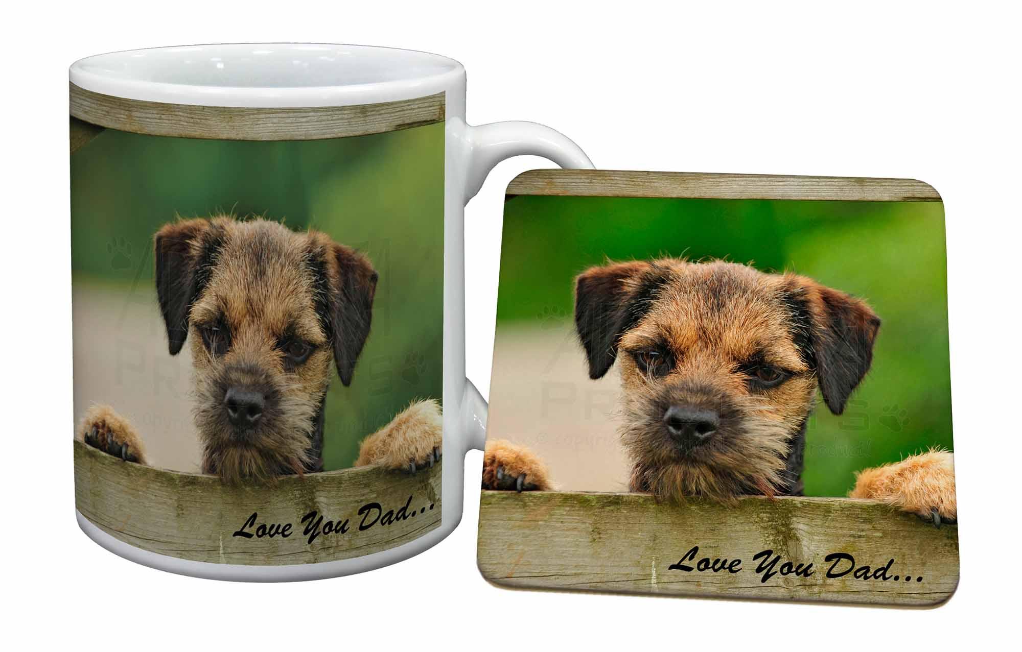 Border Terrier Dog /'Love You Dad/' Mug+Coaster Christmas//Birthday Gift DAD-12MC