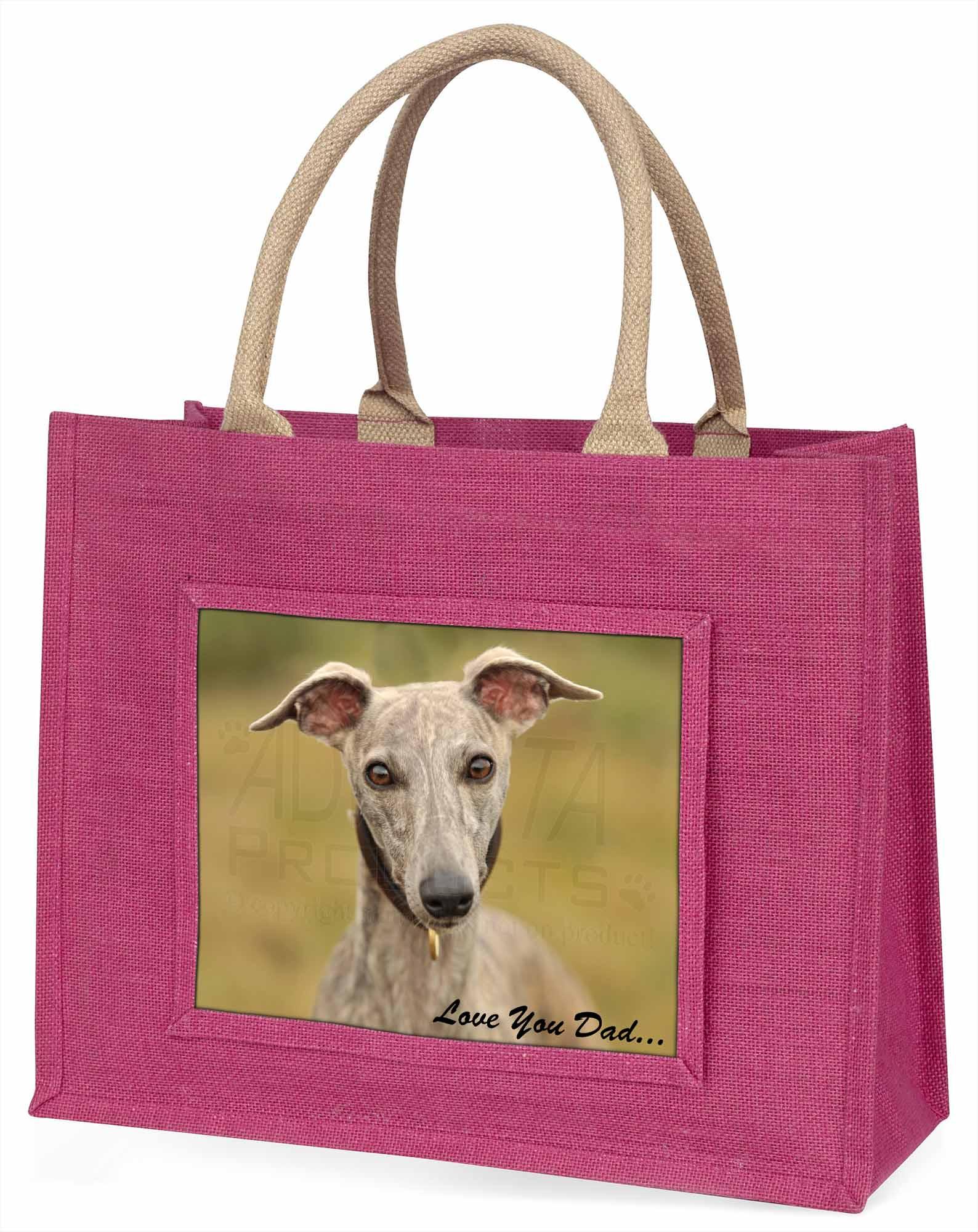 Whippet Hund' liebe Dich Papa' große rosa Einkaufstasche Weihnachtsgeschenk,