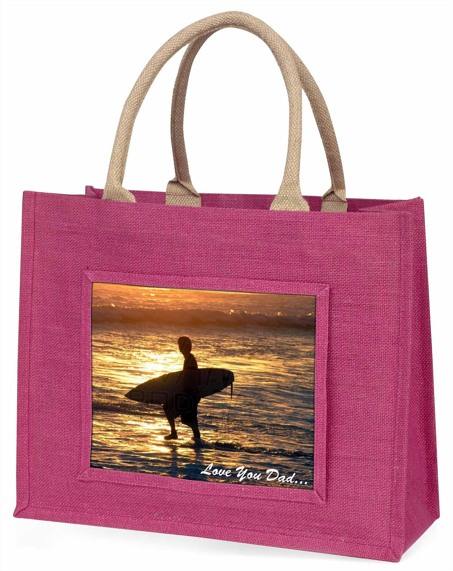 Surfen' liebe Dich Papa' große rosa Einkaufstasche Weihnachtsgeschenk