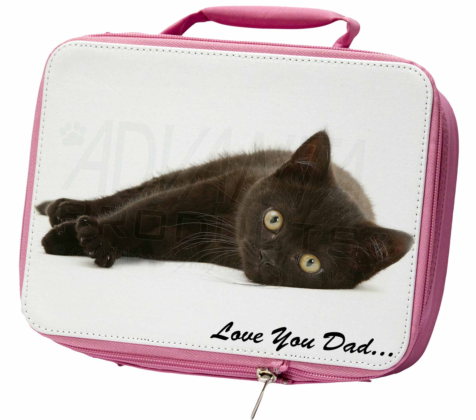 Black Cat 'Love You Dad' Insulated Pink School Lunch Box Bag, DAD159LBP