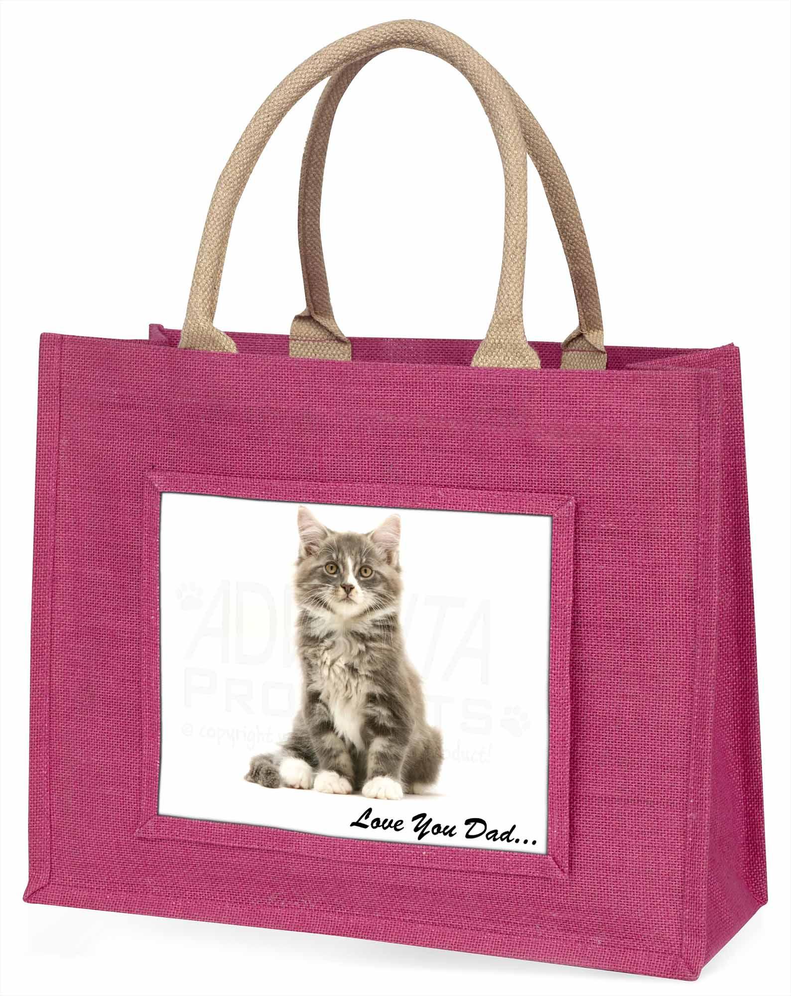 flauschig Kätzchen' liebe Dich Papa' große rosa Einkaufstasche WEIHNACHTEN Prese