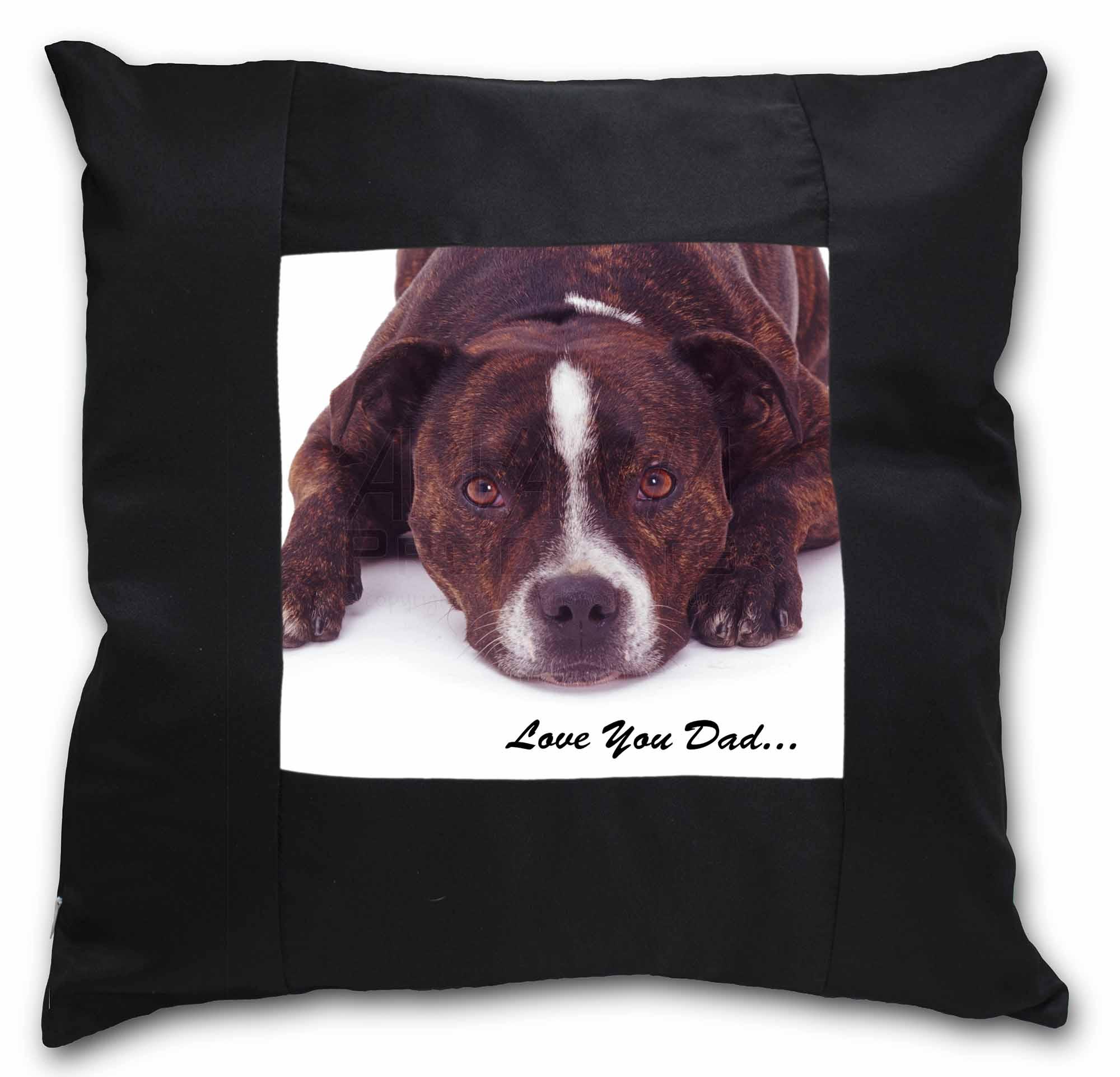 DAD-184-CSB Staff Bull /'Love You Dad/' Black Border Satin Feel Cushion Cover Wit