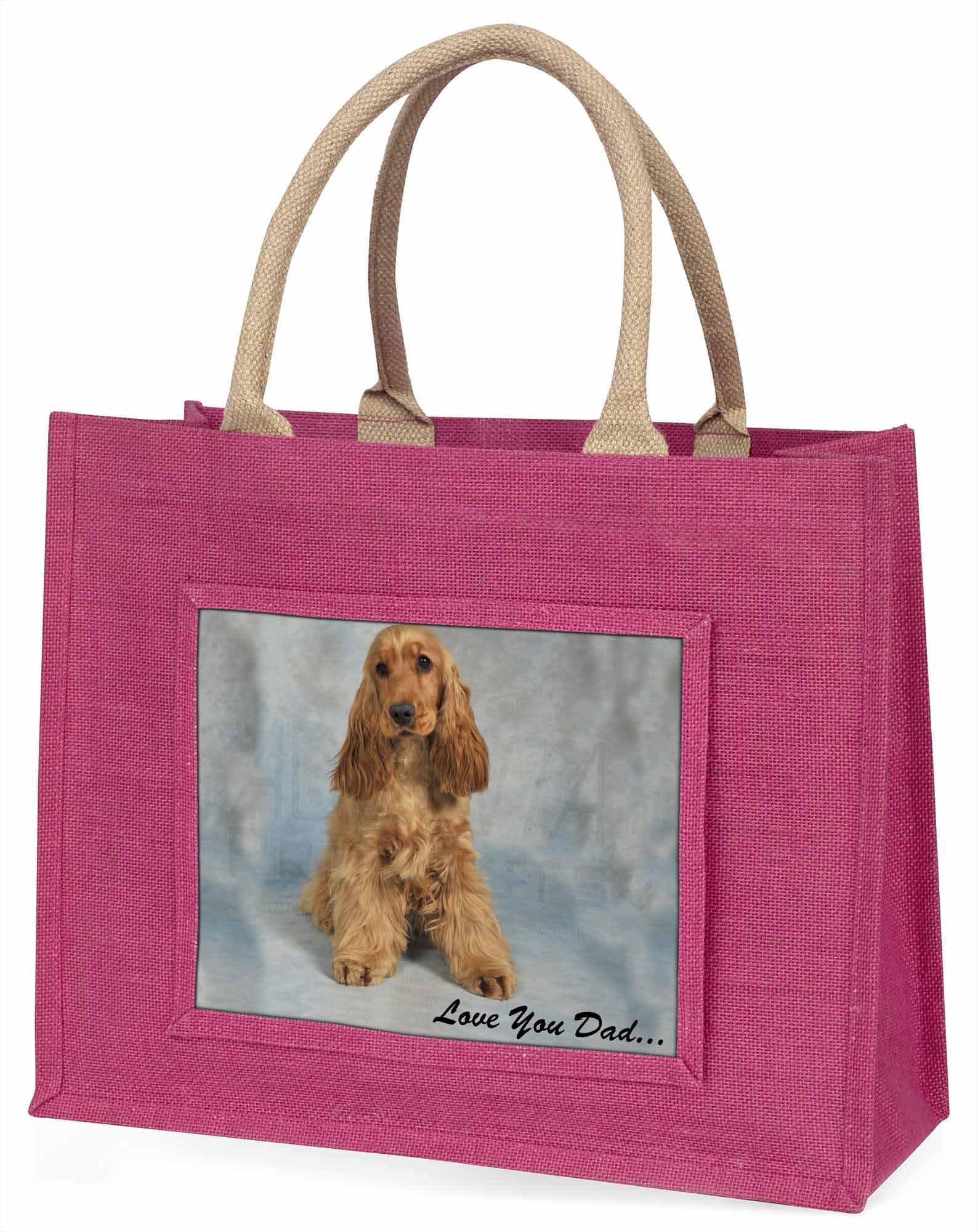 Gold Cocker Spaniel' liebe Dich Papa' große rosa Einkaufstasche Weihnachten,