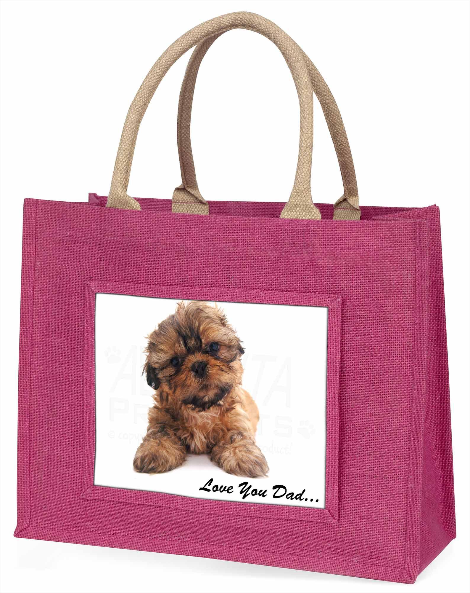Shih-tzu Hund' liebe Dich Papa' große rosa Einkaufstasche WEIHNACHTEN Presen,