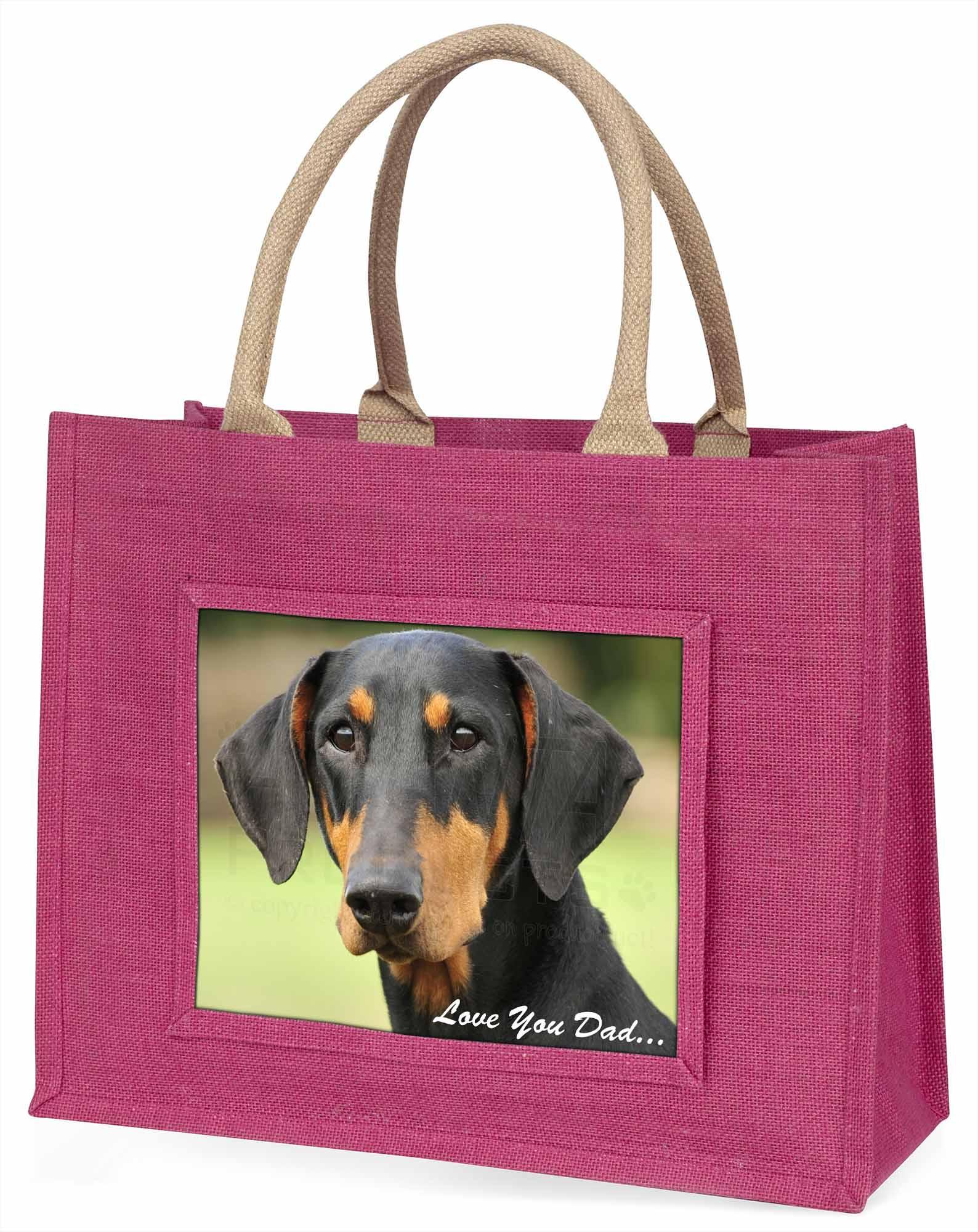Dobermann Pinscher' liebe Dich Papa' große rosa Einkaufstasche WEIHNACHTEN PR,