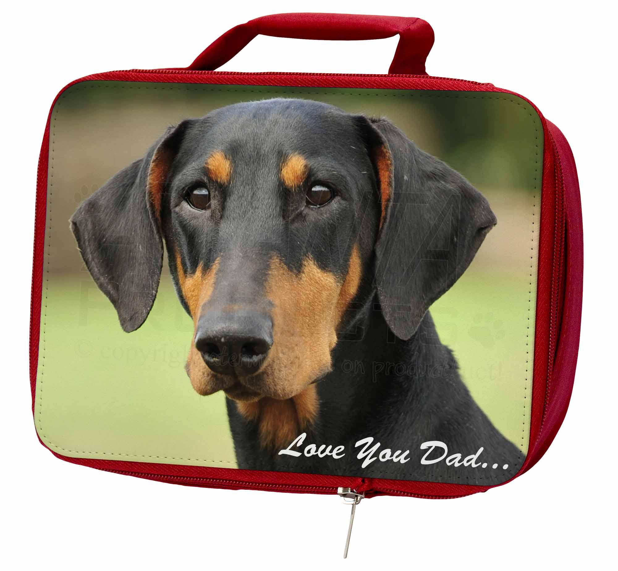 Doberman School Pinscher 'Love You Dad' Insulated Red School Doberman Lunch Box/Picni, DAD-21LBR d3ad74