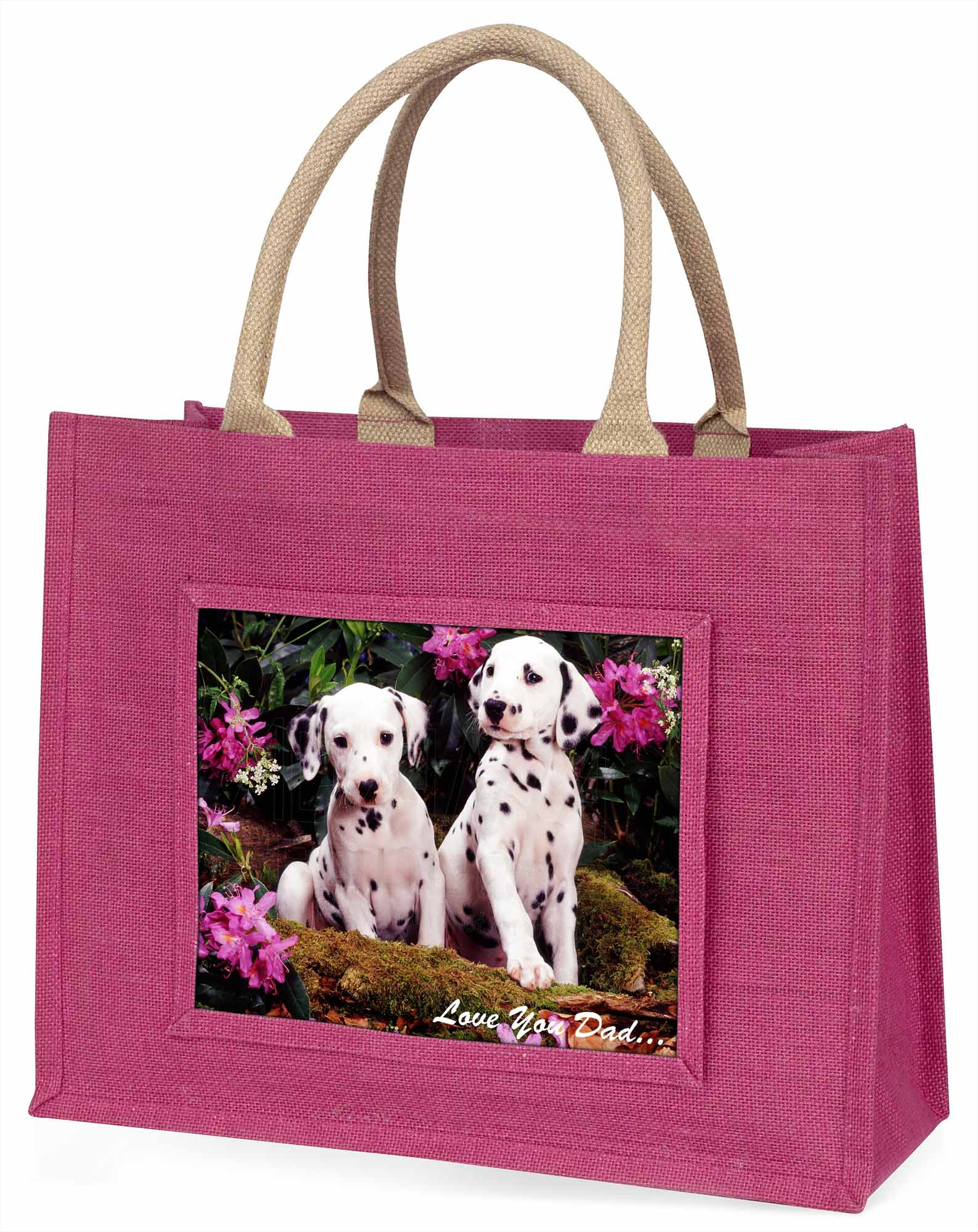 Dalmatiner Hunde' liebe Dich Papa' große rosa Einkaufstasche WEIHNACHTEN Prese ,