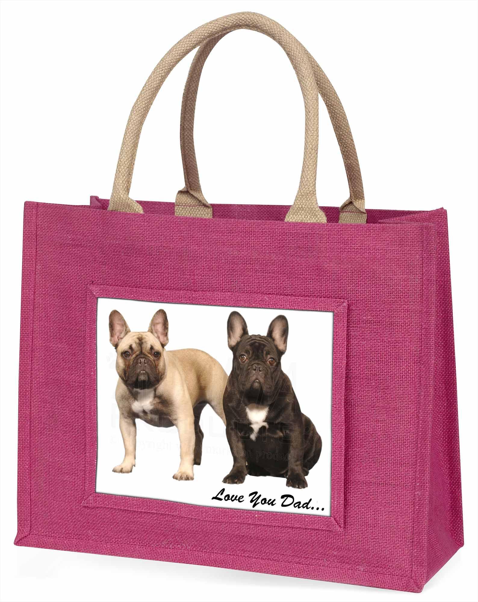 Französische Bulldoggen' liebe Dich Papa' große rosa Einkaufstasche