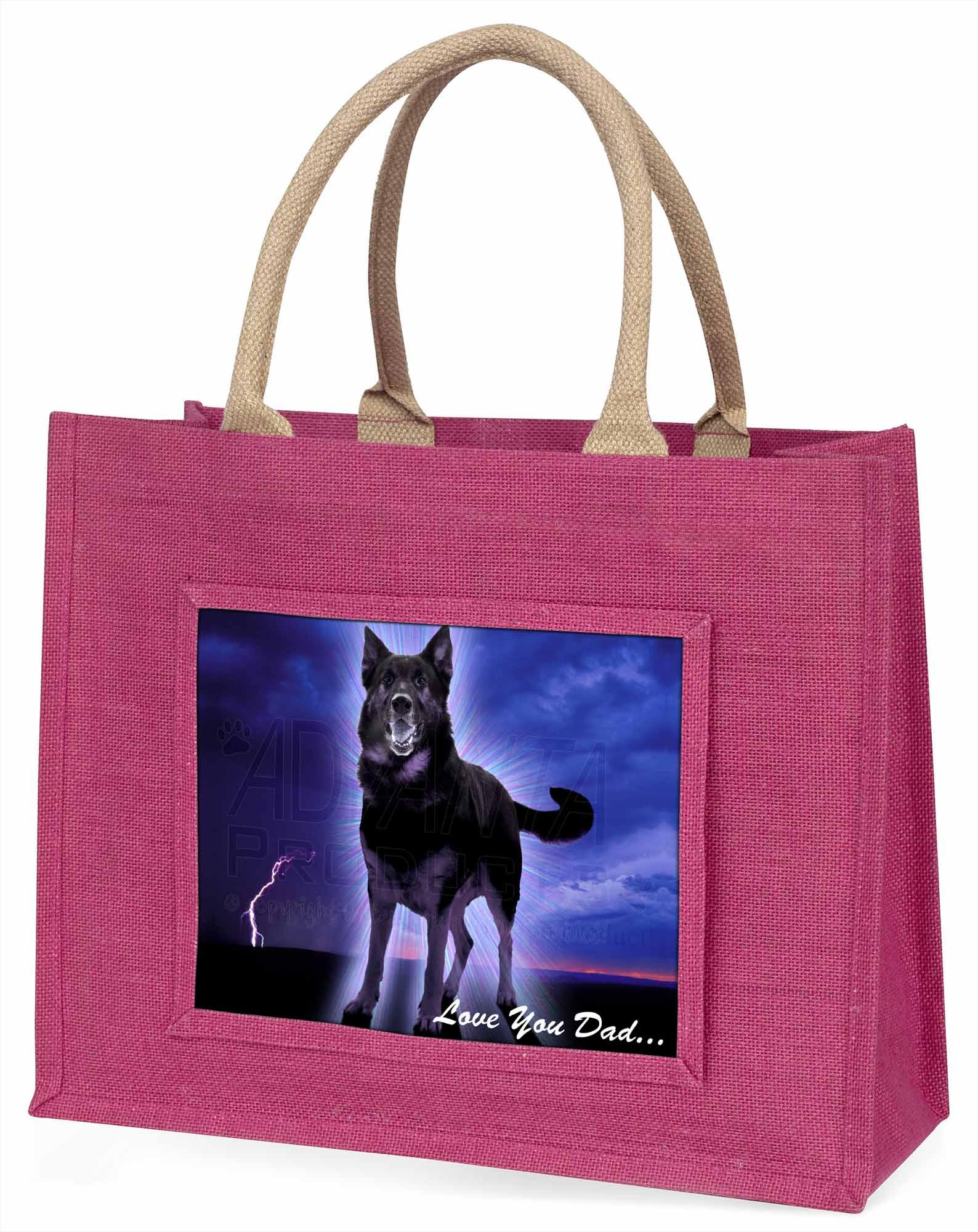 Schäferhund' liebe Dich Papa' große rosa Einkaufstasche Weihnachten Geschenk,