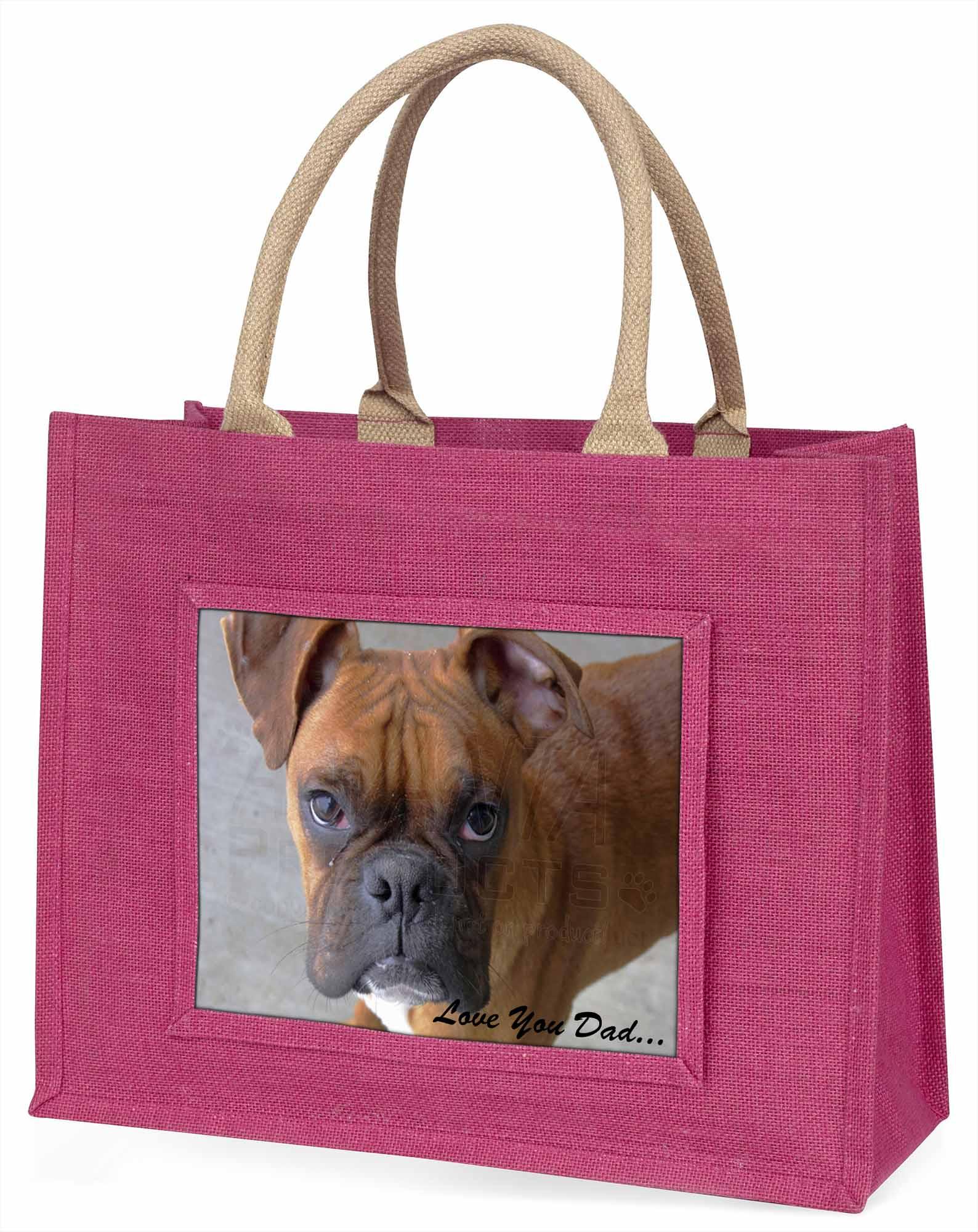 Boxer Hund ' liebe Dich Papa' Stimmung große rosa Einkaufstasche WEIHNACHTEN P,