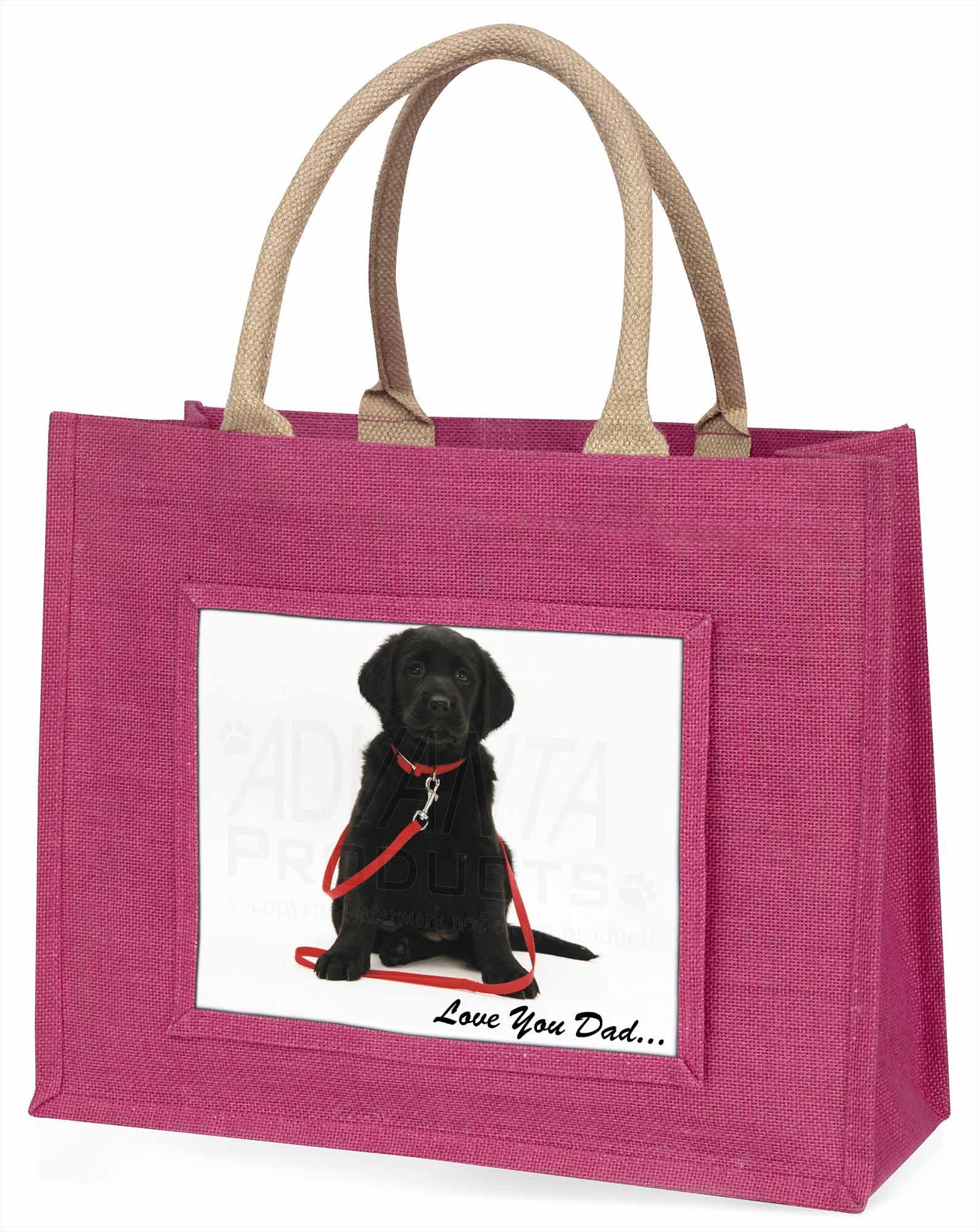 Golden Labrador Hund' liebe Dich Papa' große rosa Einkaufstasche