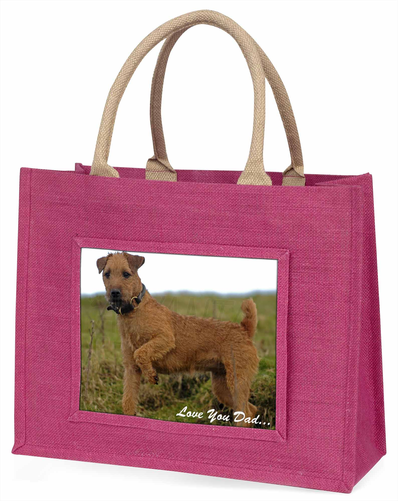 Lakeland Terrier 'Love You Dad' Large Pink Shopping Bag Christmas Pre, DAD73BLP