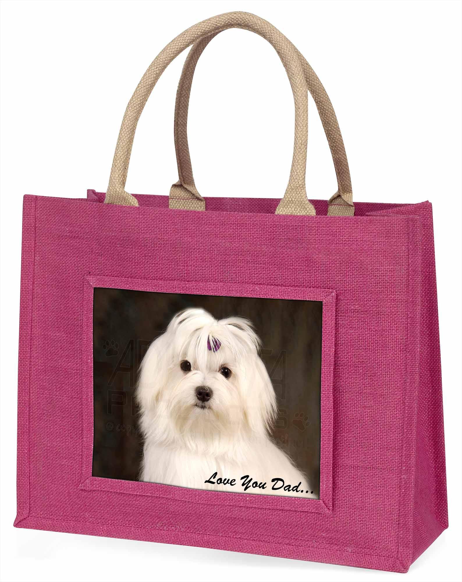 Malteser Hund' liebe Dich Papa' große rosa Einkaufstasche Weihnachtsgeschenk,