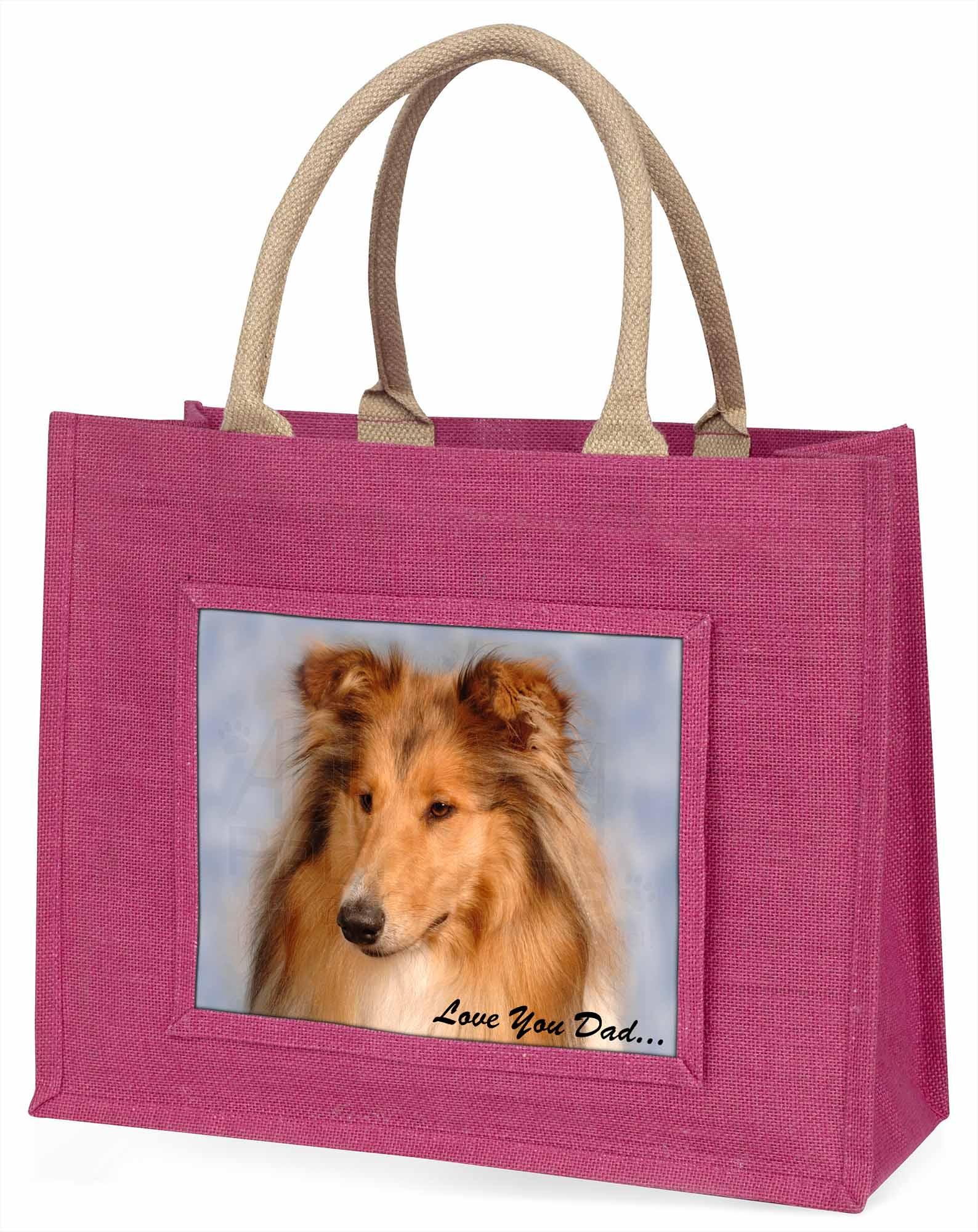 Langhaarcollie' liebe Dich Papa' große rosa Einkaufstasche Weihnachtsgeschenk,