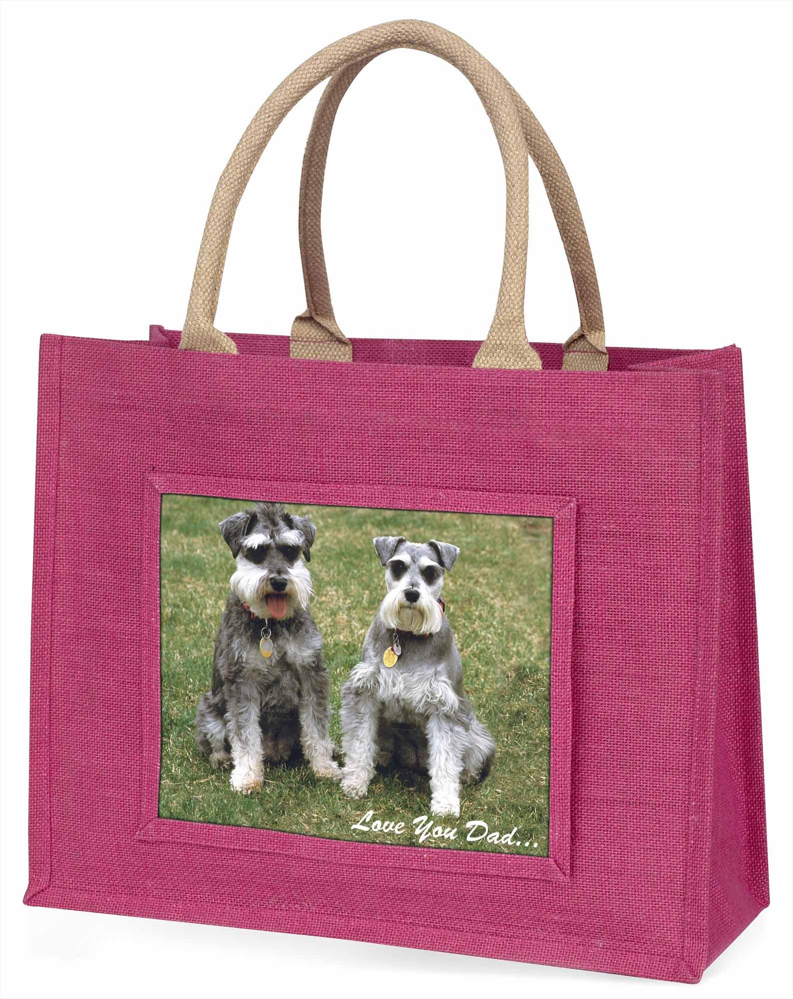 Schnauzer Hunde' liebe Dich Papa' große rosa Einkaufstasche WEIHNACHTEN Prese ,