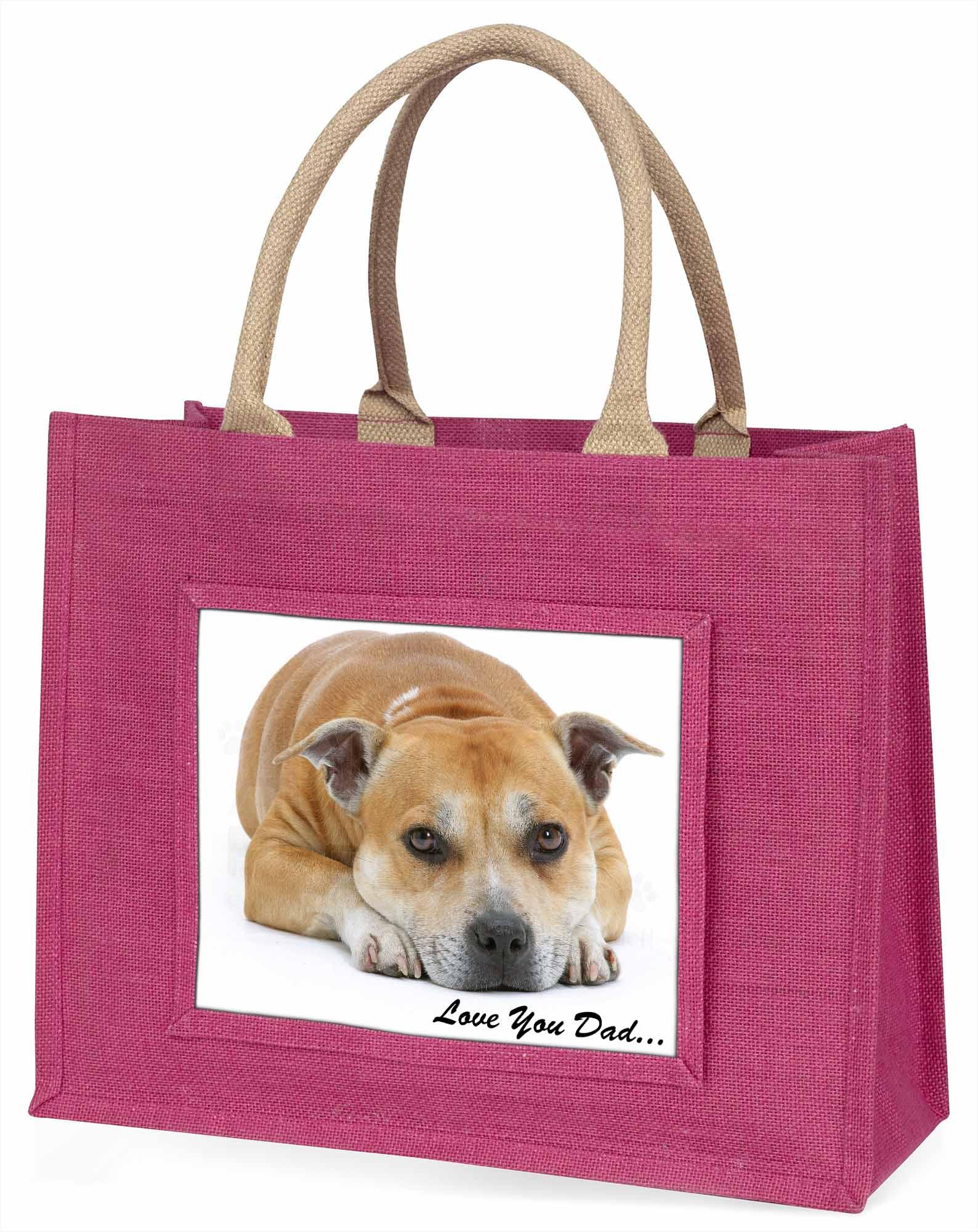 Staff Bull Terrier Hund' liebe Dich Papa' große rosa Einkaufstasche Weihnachten,