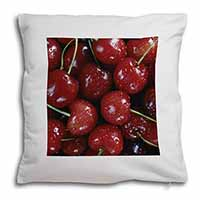 Red Cherries Print Soft Velvet Feel Cushion Cover With Inner Pillow