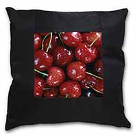 Red Cherries Print Black Border Satin Feel Cushion Cover With Pillow Insert