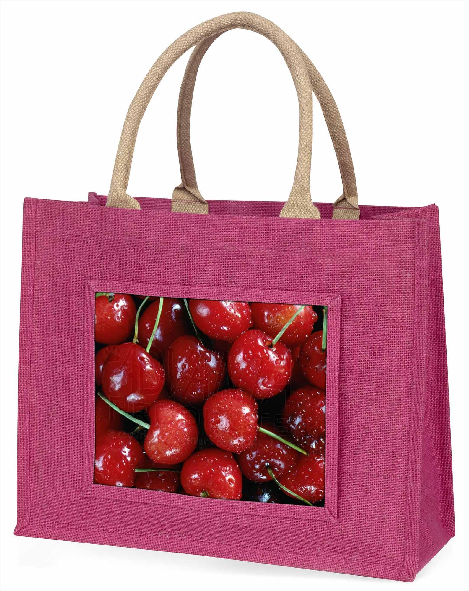 Rote Kirschen Drucken große rosa Einkaufstasche Weihnachten Geschenkidee,f-f3blp
