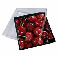 4x Red Cherries Print Picture Table Coasters Set in Gift Box