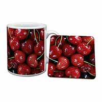 Red Cherries Print Mug+Coaster Christmas/Birthday Gift Idea