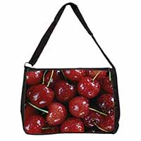 Red Cherries Print Large Black Laptop Shoulder Bag School/College
