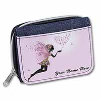Fairy Hearts Personalised Girls/Ladies Denim Purse Wallet Birthday Gift Idea