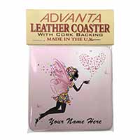 Fairy Hearts Personalised Single Leather Photo Coaster Perfect Gift