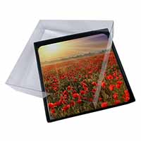 4x Poppies, Poppy Field at Sunset Picture Table Coasters Set in Gift Box