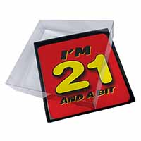 4x Over 21 Birthday Picture Table Coasters Set in Gift Box