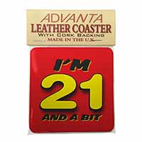 Over 21 Birthday Single Leather Photo Coaster Animal Breed Gift